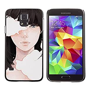 Be Good Phone Accessory // Dura Cáscara cubierta Protectora Caso Carcasa Funda de Protección para Samsung Galaxy S5 SM-G900 // Deep Meaning Girl Black Hair Emo