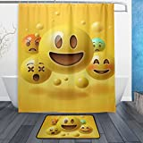 BAIHUISHOP Yellow Smiley Emoticons Emoji 3-Piece Bathroom Set, Machine Washable for Everyday Use,Includes 60x72 Inch Waterproof Shower Curtain, 12 Shower Hooks and 1 Non-slip Bathroom Rug Carpet -