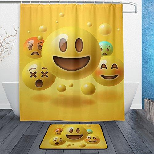 Baihuishop Yellow Smiley Emoticons Emoji 3 Piece Bathroom Set