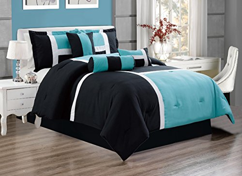 "7 Piece Oversize TURQUOISE / BLACK / WHITE Color Block ""Emma"" Comforter set 94″ X 90″ QUEEN Size Bedding"