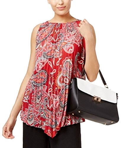 (Cable & Gauge Pleated Top (Red Paisley, XL))