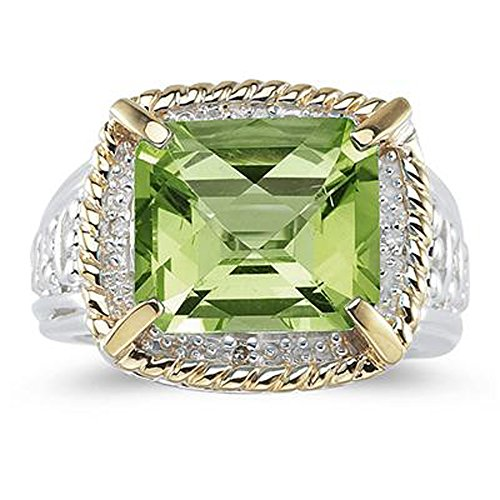 Smjewels 7.60 Ct Emerald Cut Green Peridot And Sim. Diamond Ring In 14K Two-Tone Plated by Smjewels