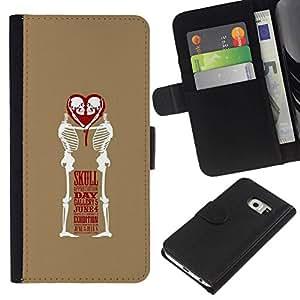 All Phone Most Case / Oferta Especial Cáscara Funda de cuero Monedero Cubierta de proteccion Caso / Wallet Case for Samsung Galaxy S6 EDGE // Love Skull Funny Brown White Heart