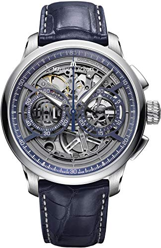- Maurice Lacroix Masterpiece Chronograph Skeleton 45mm Watch | Grey/Blue Leather