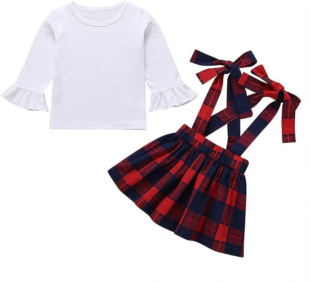 Newborn Baby Girl White T-shirt Plaids Overalls Shorts Dress 2pcs Outfits Set