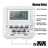 AstroAI Digital Dual Light Timer Outlet, 7-Day Programmable Electrical Plug-In Switch, Heavy Duty with 2 Independently Programmable 3-Prong Outlets, 15A/1875W