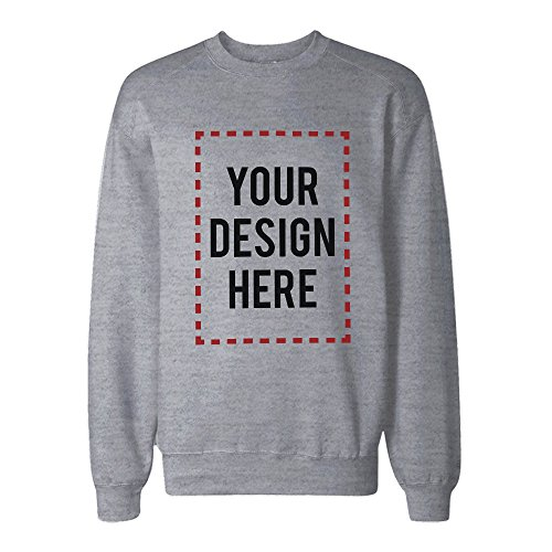 365Printing Custom Print Sweatshirt Personalized Grey Sweat Shirt Photo Print ()