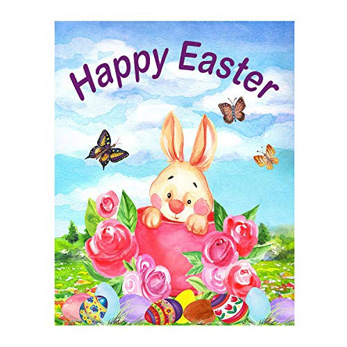 (Wamika Easter Funny Bunny Eggs Butterfly Flowers Double Sided House Flag Garden Banner 28