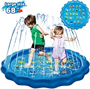 "KingsDragon Splash Pad Inflatable Sprinkler for Kids Outside Toys, 68"" Sprinkle and Splash Play Mat Kiddi"