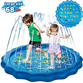 """KingsDragon Splash Pad Inflatable Sprinkler for Kids Outside Toys, 68"""" Sprinkle and Splash Play Mat Kiddie Baby Toddlers Swimming Wading Pool for Learning Water Toys Gifts for 1-12 Year Olds"""