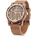 Sentai Natural Wood Watch, Genuine Leather Strap, Handmade Quartz Watches, Zebra Wood Men's Women's Wrist Watch