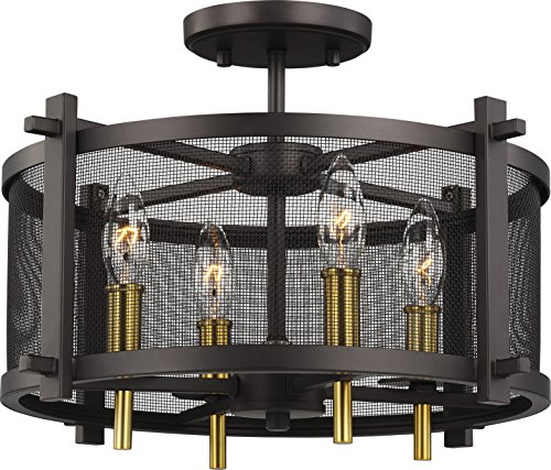 Palmyra Collection (Feiss SF348ORB/BBS Transitional Four Light Semi-Flush Mount from Palmyra Collection in Bronze/Dark Finish)