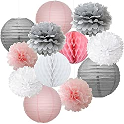 12pcs Mixed Pink Gray White Decorative Paper Pompoms Flower Hanging Paper Lantern Honeycomb Balls Wedding Birthday Christening Girl Baby Shower Nursery Mobiles