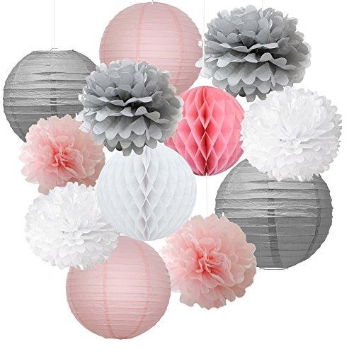 12pcs Mixed Pink Gray White Decorative Paper Pompoms Flower Hanging Paper Lantern Honeycomb Balls Wedding Birthday Christening Girl Baby Shower Nursery -