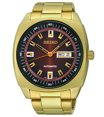 Seiko Men's SNKM98 Gold-Tone Stainless Steel Automatic Watch (Watch Automatic Tonneau)