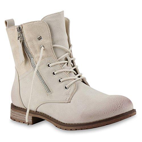 Stiefelparadies Damen Stiefeletten Schnürstiefeletten Worker Boots Zipper Schuhe Flandell Nude