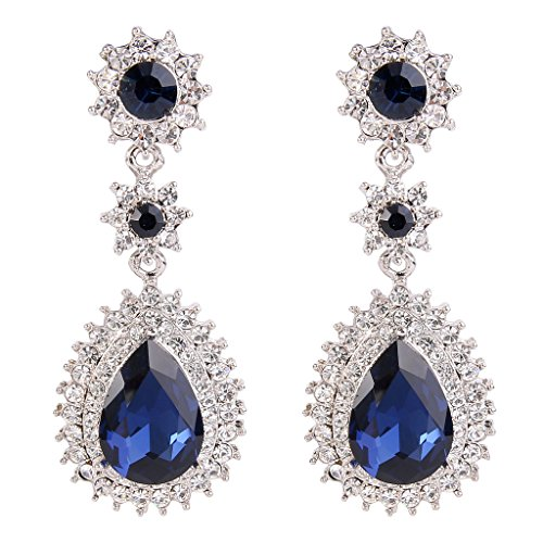 Blue Austrian Crystal Rhinestone (EleQueen Women's Austrian Crystal Dazzling Flower Tear Drop Wedding Dangle Earrings Silver-tone Royal)