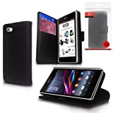 Orzly® - Multi-Function Wallet Stand Case for XPERIA Z1 MINI / COMPACT - BLACK Leather Effect Wallet Style Phone Case with Intergrated Stand for SONY XPERIA Z1 MINI / XPERIA Z1 COMPACT / D5503 Model SmartPhone 2014