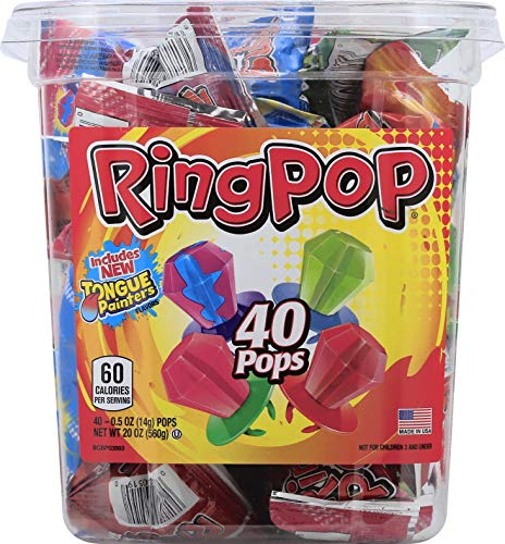 Ring Pop Individually Wrapped Bulk Variety Party Pack - Candy Lollipop Suckers w/ Assorted Flavors (40Count Tub) -