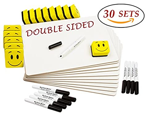 """DOUBLE SIDED Dry Erase Lapboards Pack Bulk Includes 30 Pcs 9 x 12"""" Inch Mini Small Whiteboards With Erasers and Markers For School Students Write Large Classroom Drawing Interactive Office - Dry Erase Classroom"""