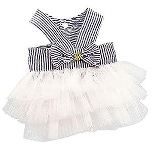 Wakeu Small Dog Girl Dress Pet Puppy Cat Lace Tutu Stripe Vest Skirt Clothes (XS, Navy)