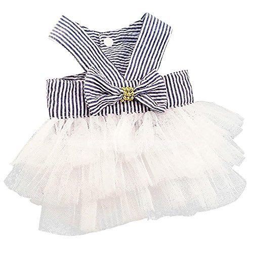 Wakeu Small Dog Girl Dress Pet Puppy Cat Lace Tutu Stripe Vest Skirt Clothes (XS, Navy)