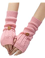 Bullidea Women Lady Wrist Arm Warmer Winter Knitted Long Fingerless Gloves Solid Color Creative Design with Button Decoration(Rose)