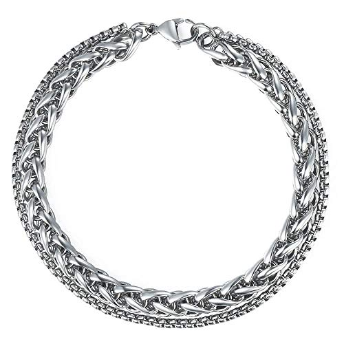 Trendsmax Double Wheat Link Box Chain Bracelet Mens Boys Stainless Steel Stack Bracelets Silver 8 inch