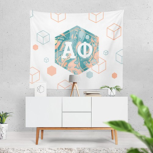 Alpha Phi Sorority 6-Points Marble Dorm Apartment Wall Tapestry 60 Inches x 80 Inches A Phi