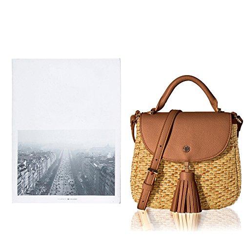 Satchel IjoIMW7KzK Neutral Handle Tote Bag Women's Brown Top Bag Lovely Body Straw Crossbody Shoulder The Woven Cross fSw6H