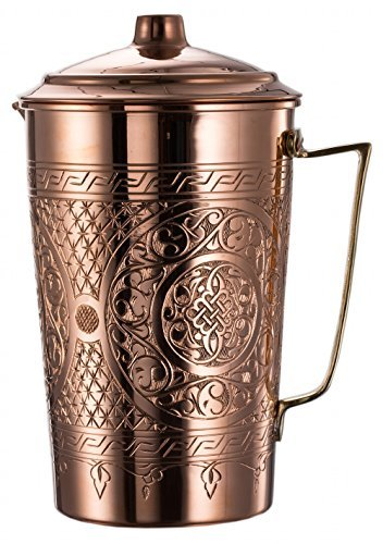 New* CopperBull 2017 Heavy Gauge 1mm Solid Hammered Copper Water Moscow Mule Serving Pitcher Jug with Lid, 2.2-Quart (Engraved Copper) by CopperBull