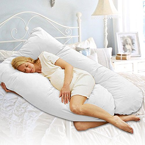Pregnancy Pillow Maternity Belly Contoured Body U Shape (white)