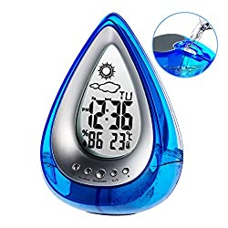 Alarm Clock Water Power Weather Station, Poscoverge Eco-Friendly Hydrodynamic Water Powered Digital Clock, Time Display and Temperature Measurement for Office Living Room Bedroom (Blue)