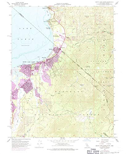 YellowMaps South Lake Tahoe CA topo map, 1:24000 Scale, 7.5 X 7.5 Minute, Historical, 1955, Updated 1971, 26.8 x 22 in - Polypropylene