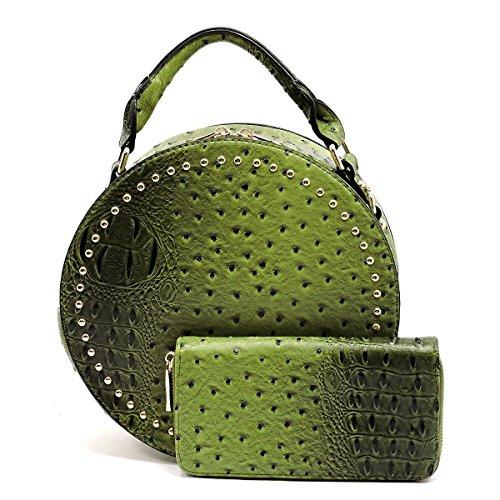 Handbag Republic Croc Embossed Round Satchel w/ Strap + Wallet- Taupe (Croc Embossed Strap)