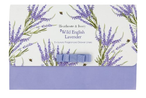 Heathcote & Ivory Wild English Lavender Luxury Fragranced Drawer Liners, Pack of 5 Fragranced Drawer Liners