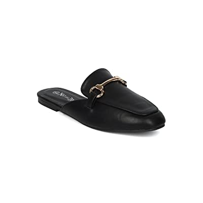 Alrisco Women Leatherette Flat Mule Slide HC40 - Black Leatherette (Size: 6.5) | Mules & Clogs