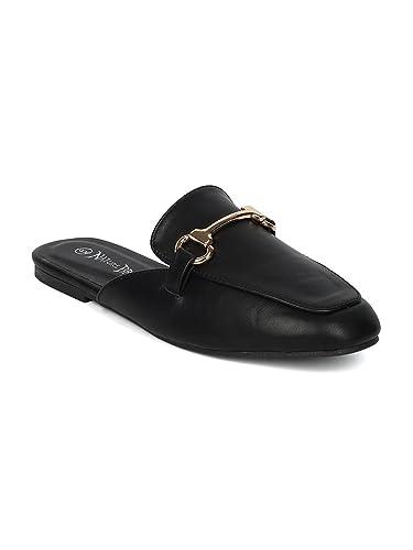 3462b39b176fd Alrisco Women Leatherette Flat Mule Slide HC40