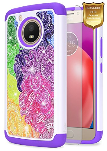 Moto E4 Case w/[Screen Protector Premium Clear], NageBee Glitter Diamond Hybrid Cover w/[Shiny Studded Rhinestone Bling] Sparkle Girls Cute Case for Motorola Moto E 4th Generation -Rainbow