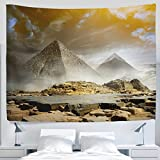 ALAZA African Egyptian Giza Pyramid Clouds Camel Fog Desert Sunset Landscape Tapestry Wall Hanging Artwork Light-weight Polyester Fabric Cottage Dorm Wall Art Home Decoration 60x40 Inches Golden
