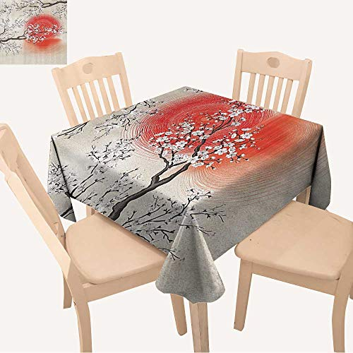 UHOO2018 Decorative Tablecloth Square/Rectangle Sakura Cherry Trees Branches Leaves White Flowers in Spring Blossom Under The Red Sun Assorted Size,52x 52 inch