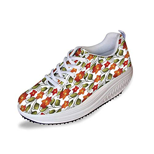 Floral Stylish Shake Shoes,Victorian Fleur de Lis Lily Blooms Nature Inspired Boho Herbs Graphic for Women,8