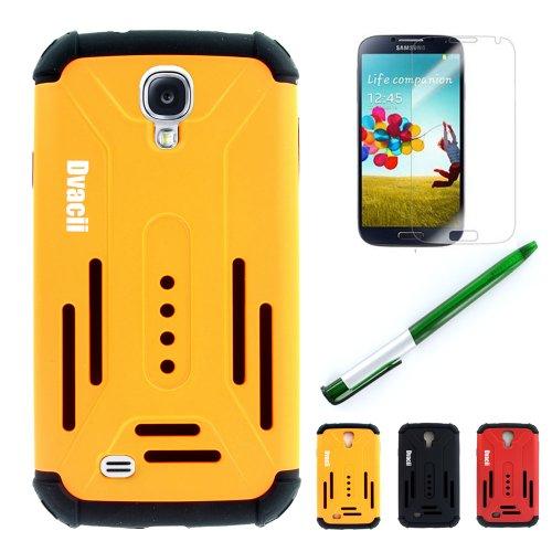 Dvacii (TM) (Orange) Samsung Galaxy S4 i9500 (IRON MAN) Armored Dual Layer Drop Protection Case + Free Screen Protector + Free collectible pen
