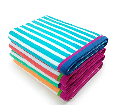 KAUFMAN - Velour Racing Stripe Beach & Pool Towel 4-Pack - 3