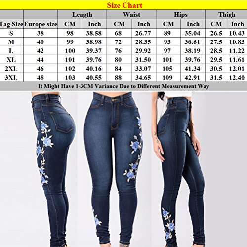 Pantalon Butt Embroidered Stretch Blue Femme Zhhlaixing Womens Flora Leg Skinny High Blue Straight Classic Jeans Lift Fq10qWx8n