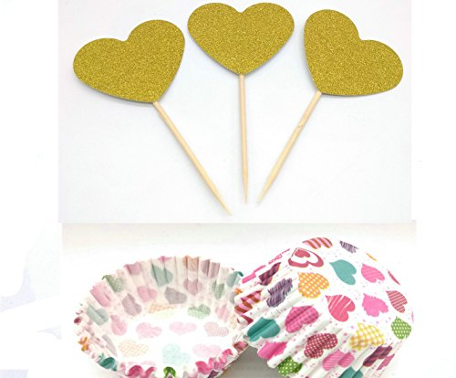 Hemarty 24 Glitter Gold Heart-shaped CupCake Toppers and 48 Cupcake Wrappers Wedding Bridal Shower Birthday Decoration Cake (Heart Shaped Dessert Plates)