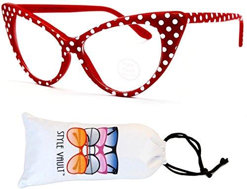 E27-vp Style Vault Cateye clear lens Eyeglasses Glasses polka dot (B2541F Red/White Dot-Clear, - Dot Sunglasses Red