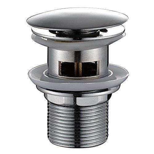 Auralum® Edelstahl Desodorierend Ablaufgarnitur mit Überlauf für den Waschtisch Pop Up Ventil Waschbecken Spüle Ablauf