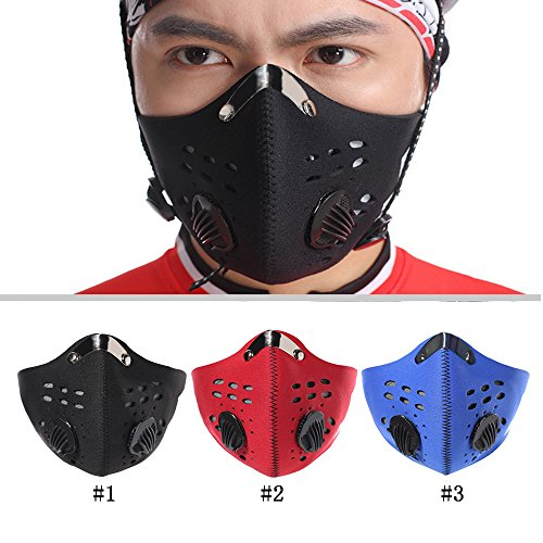 Meanhoo Bike Cycling Anti-dust Half Face Mask with Filter Neoprene Size L(red)