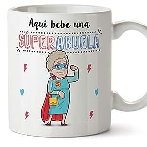 MUGFFINS Tazas para Abuelas – AQUÍ Bebe UNA Super Abuela – La Mejor Taza Desayuno del Mundo 350 ml - Idea Regalo para Abuelas